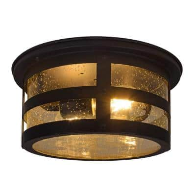 Cambridge 2-Light Antique Black Ceiling Flushmount with 2 Edison LED Light Bulbs Included