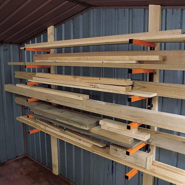 6 Shelf Wall Mount Lumber Storage Rack, Wood Storage Racks