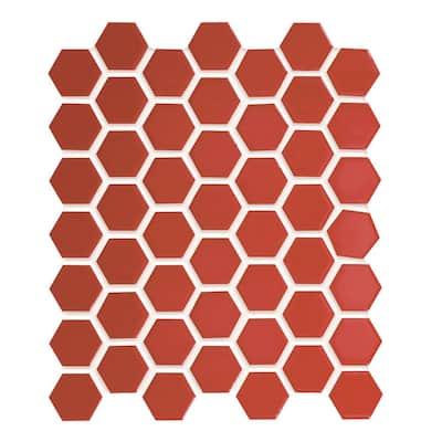 Restore Red 10 in. x 12 in. Glazed Ceramic Hexagon Mosaic Tile (0.81 sq. ft./each)