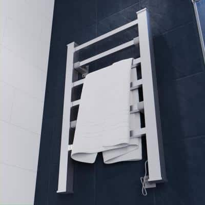 Naples 6-Bar Wall Mounted or Free Standing Electric Towel Warmer Rack in Aluminum