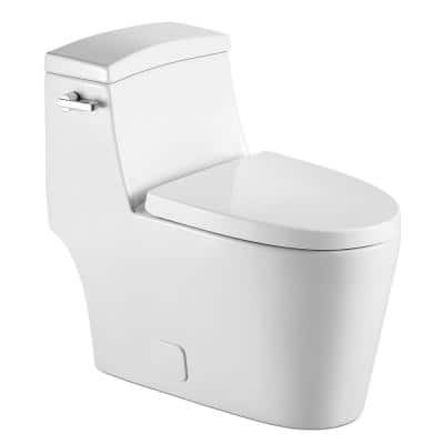 1-Piece 0.8 GPF/1.28 GPF Single Flush High Efficiency Elongated Toilet in White, Seat Included