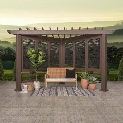 Hampton 8 ft. x 8 ft. Brown Steel Traditional Cabana Pergola with Black Privacy Panels