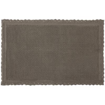 Reversible Crochet Beaded 20 in. x 34 in. Bath Rug, Charcoal