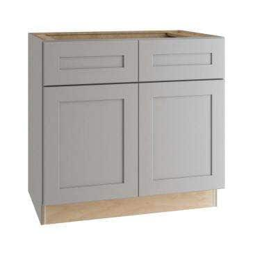 Tremont Assembled 36x34.5x24 in. Plywood Shaker Sink Base Kitchen Cabinet Soft Close Doors in Painted Pearl Gray
