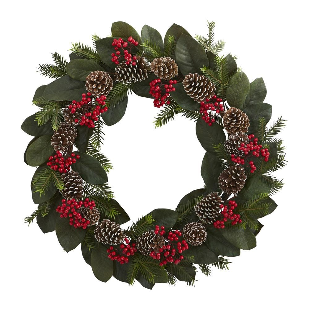 Christmas Wreath multi leaves with berries and cones