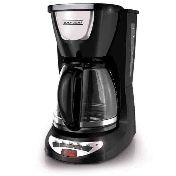 BLACK+DECKER 12-Cup Programmable Black Drip Coffee Maker with Glass Carafe, Built-In Timer and Automatic Shut-Off