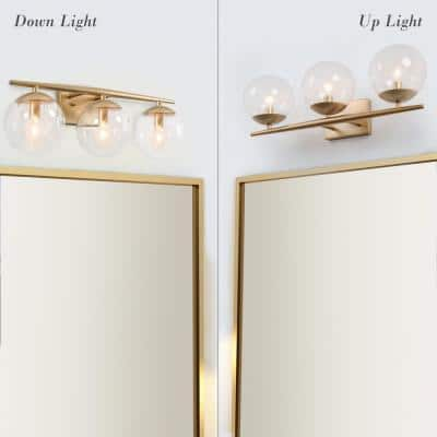 Modern Brass Bathroom Vanity Light, 3-Light Indoor Wall Sconce Bath Vanity Light with Clear Globe Glass Shades