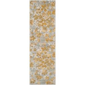Evoke Gray/Gold 2 ft. x 11 ft. Runner Rug