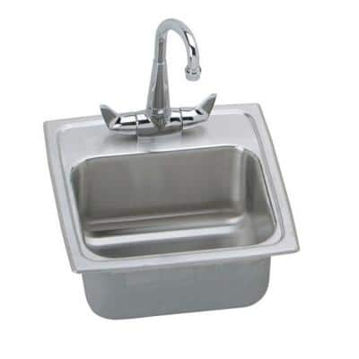 Lustertone Stainless Steel 15 in. 1-Hole Drop-in Bar Sink with Faucet and Basket Strainer