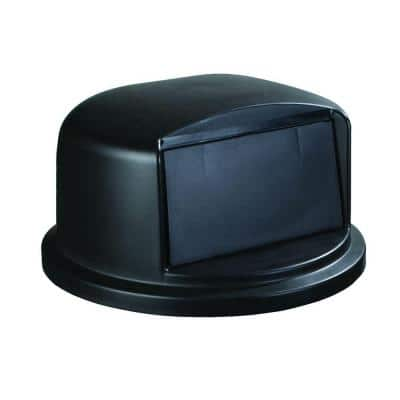 Bronco 44 or 55 Gal. Black Round Trash Can Flapped Dome Lid
