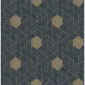 Granada Charcoal Geometric Charcoal Wallpaper Sample