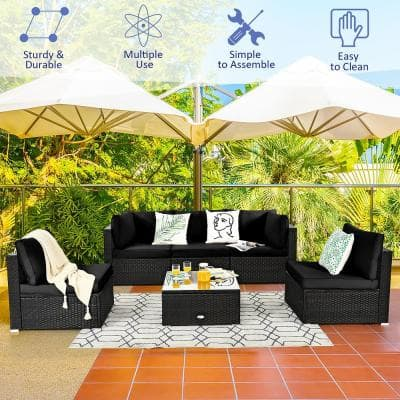 Patio Coffee 6-Piece Plastic Wicker Outdoor Sectional Set Cushioned in Black Cushion