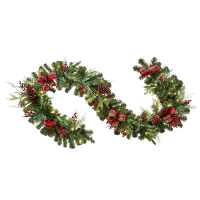 9 ft Woodmoore Battery Operated Mixed Pine LED Pre-Lit Artificial Christmas Garland with Timer