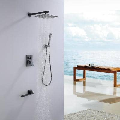 Modern Shower Kit 1-Spray 10 in. Square Rain Shower Head with Hand Shower and Tub Faucet in Matt Black (Valve Included)