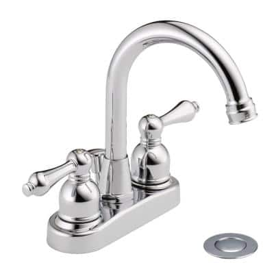 4 in. Centerset 2-Handle High-Arc Bathroom Faucet in Polished Chrome with Drain