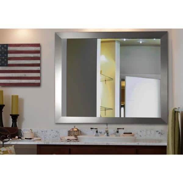 25 In W X 35 H Framed Rectangular, Silver Bathroom Mirrors