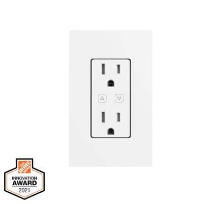 15 Amp 120-Volt Smart Hubspace Tamper Resistant Duplex Outlet Wi-Fi and Bluetooth Enabled, White