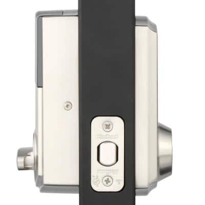 Z-Wave SmartCode Touchscreen Satin Nickel Single Cylinder Electronic Deadbolt featuring Tustin Hall/Closet Lever