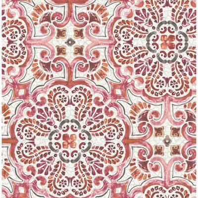 Florentine Pink Tile Pink Wallpaper Sample