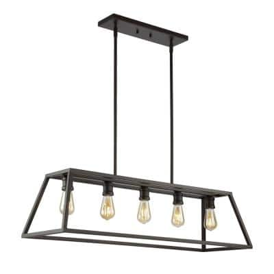 Floyd 38 in. 5-Light Adjustable Iron Farmhouse Vintage LED Dimmable Pendant, Oil Rubbed Bronze