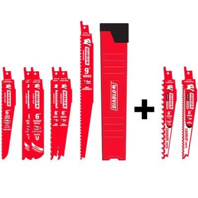 6-Piece Bi-Metal Reciprocating Saw Blade Set with 2 Free Carbide Recip Blades