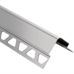 Schluter Systems Trep Fl Brushed Stainless Steel 11 32 In X 4 Ft 11 In Metal Stair Nose Tile Edging Trim Fl90eb 150 The Home Depot