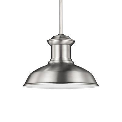 Fredricksburg Satin Aluminum 1-Light Outdoor Hanging Pendant with LED Bulb