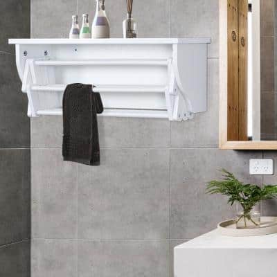 10-Bar Wall-Mounted Towel Rack in White