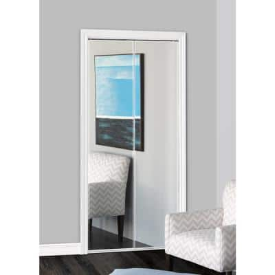 24 in. x 80 in. 321 Series Steel Frameless Bifold Mirror Door - Beveled