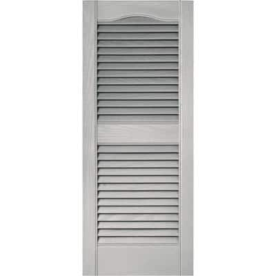 15 in. x 36 in. Louvered Vinyl Exterior Shutters Pair in  Paintable