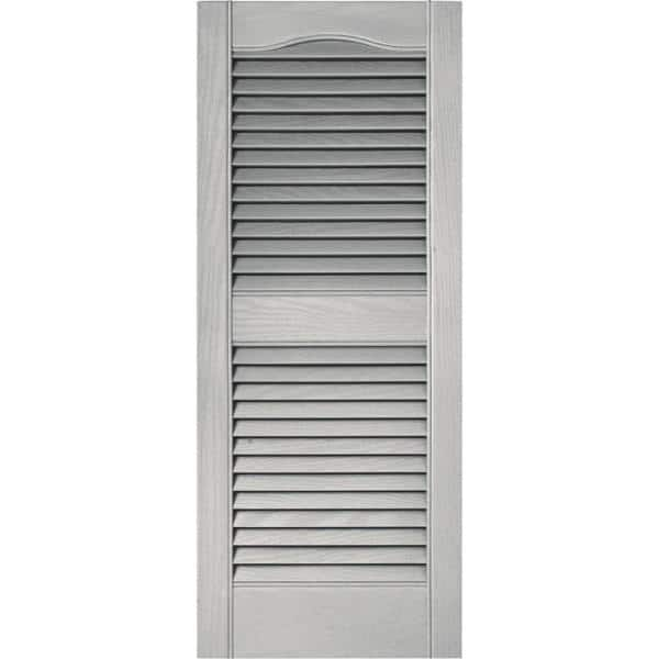 Builders Edge 15 In X 36 In Louvered Vinyl Exterior Shutters Pair In Paintable 010140036030 The Home Depot