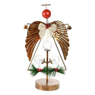 20 in. Metal Angel Pine and Berry Christmas Tabletop Decor with LED Light and Timer