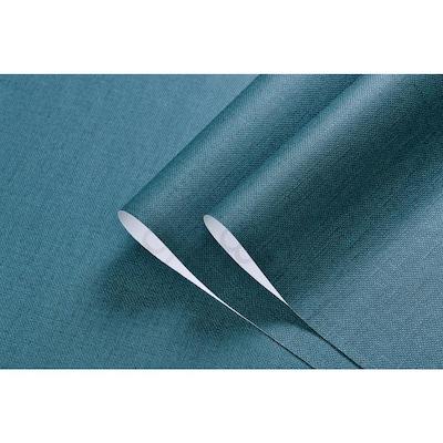Linen Texture Vinyl Peel and Stick Wallpaper Roll, DarkGreen, 2 ft. x 33 ft./Roll(2 Roll)