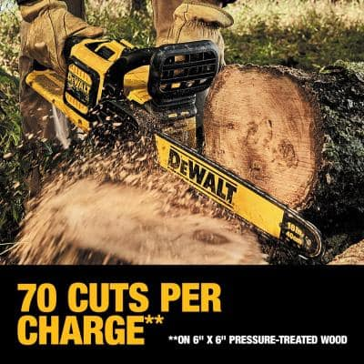16 in. 60V MAX Cordless Brushless FLEXVOLT Chainsaw with (1) 3.0Ah Battery and Charger w/ Bonus (1) 2.0Ah Pack