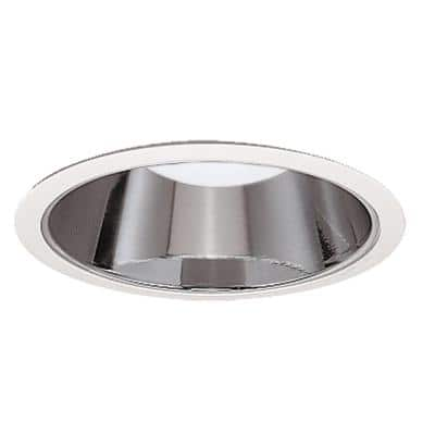 E26 Series 6 in. Clear Recessed Ceiling Light Specular Reflector with White Trim Ring