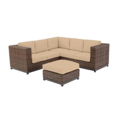 Fernlake 4-Piece Taupe Wicker Outdoor Patio Sectional Sofa with Sunbrella Beige Tan Cushions