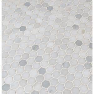 Greecian White Mini 1 in. Hexagon 11.61 in. x 11.81 in. x 10 mm Polished Marble Mosaic Tile (0.95 sq. ft.)