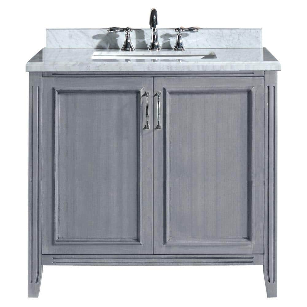 Home Decorators Collection Madison 36 In Vanity In Gray With Marble Vanity Top In Carrara White Pemadison36 The Home Depot