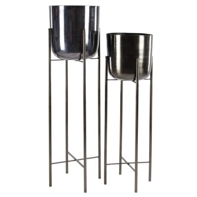Modern 11 in. x 46 in. and 10 in. x 39 in. Iron Black Metal Planters with Stands (Set of 2)