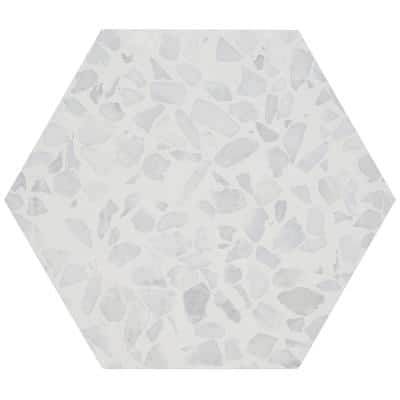 Fusion Hex Gray Terrazzo 9.13 in. x 10.51 in. Matte Porcelain Floor and Wall Tile (8.07 sq.ft. / Case)