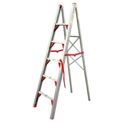 6 ft. OSHA Compliant Single Sided Aluminum Folding Step Straight Ladder