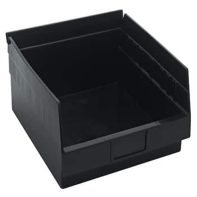 Economy Shelf 9 Qt. Storage Tote in Black (8-Pack)