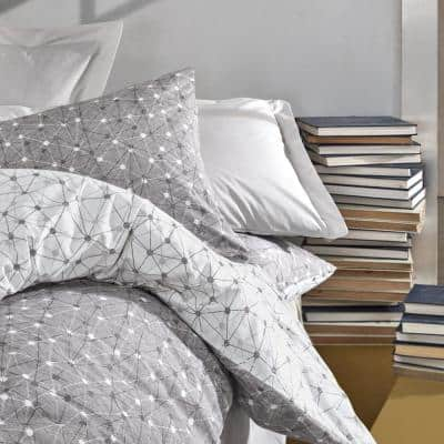 Gray Connections Duvet Cover Set, Full Size Duvet Cover, 1 Duvet Cover, 1 Fitted Sheet and 2 Pillowcases, Iron Safe