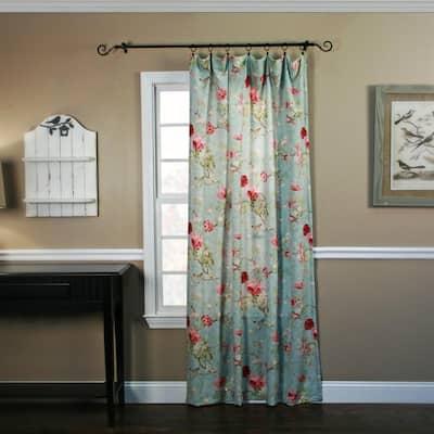 Sage Floral Rod Pocket Room Darkening Curtain - 48 in. W x 63 in. L