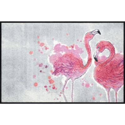 Whimsy Pink Flamingos 20 in. x 30 in. Nylon Doormat