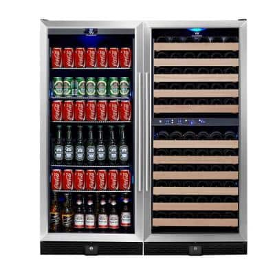 3 Zone 47.08 in. 106-Bottle Wine and 300-Can Combo Beverage Cooler