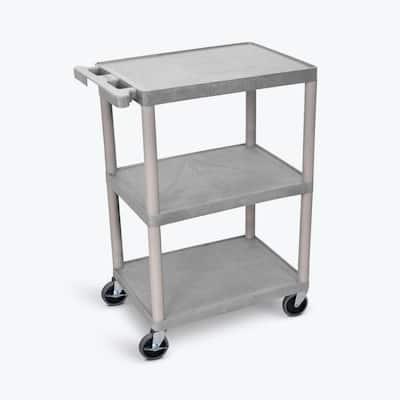 HE 24 in. W x 18 in. D x 34 in. H, 3-Flat Shelf Utility Cart in Gray