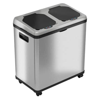 16 Gal. Stainless Steel Rolling Touchless Sensor Trash Can and Recycle Bin Combo Unit with Wheels