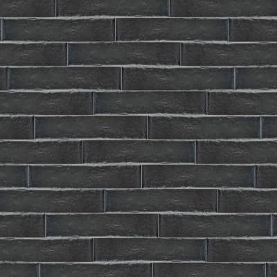 Brooklin Brick Black 2-3/8 in. x 9-1/2 in. Porcelain Floor and Wall Tile (6.04 sq. ft./Case)
