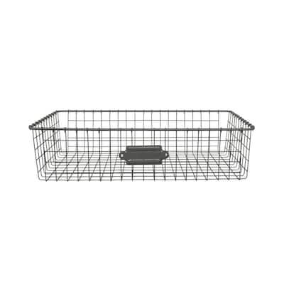 16 in. D x 9 in. W x 4 in. H Industrial Gray Vintage Steel Wire Storage Basket
